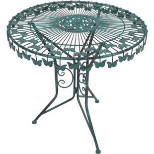 Metall Tisch Schmetterling Gartentisch Beistelltisch Antik Grün Garten Balkon - Bild 1