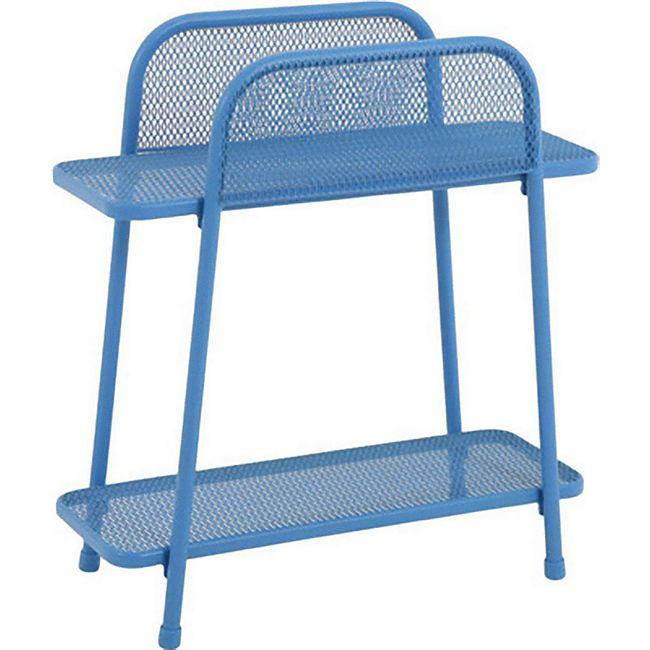 Metall Balkonregal blau Balkon Garten Terrasse Regal Standregal Möbel Tisch - Bild 1