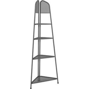 Metall Balkon Eckregal Regal Standregal Ablage Aufbewahrung Eckschrank grau - Bild 1