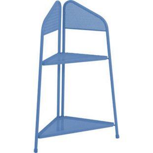 Metall Balkon Eckregal Regal Standregal Ablage Aufbewahrung Eckschrank blau - Bild 1