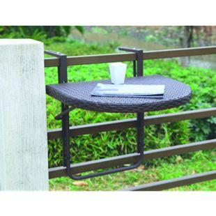 Garden Pleasure Balkon Tisch klappbar Esstisch Klapptisch Rattan Optik coffee - Bild 1