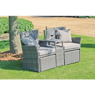 Garten Doppelsessel Set Terrasse Sessel Lounge Sitzgruppe Rattan Optik - Bild 1