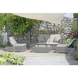 Garten Lounge Sitzgruppe Relax Sofa + Tisch + Sessel Terrasse Möbel Rattan Optik - Bild 1