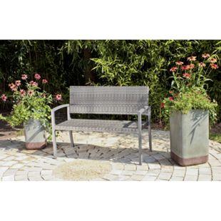 Garden Pleasure Parkbank Sanremo Rattan Optik Garten Bank Sitzbank Möbel grau - Bild 1