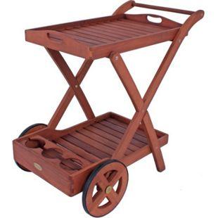 Garden Pleasure Teewagen Toledo Eukalyptus Holz Servierwagen Küchenwagen - Bild 1