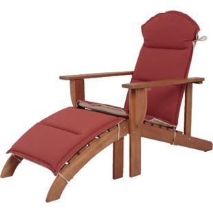 Holz Adirondack Chair + Auflage Garten Sonnenliege Relax Liege Möbel Liegesessel - Bild 1