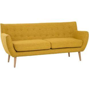 Sofa MOON 3-Sitzer in currygelb Couch Dreisitzer Stoffsofa - Bild 1
