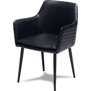 2x Esszimmerstuhl SHAWN in schwarz Stuhlgruppe Sitzgruppe Stühle - Bild 1