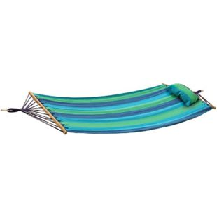 Hängematte HAWAII Hängeliege Schaukelliege Garten Relaxliege blau/grün gestreift - Bild 1