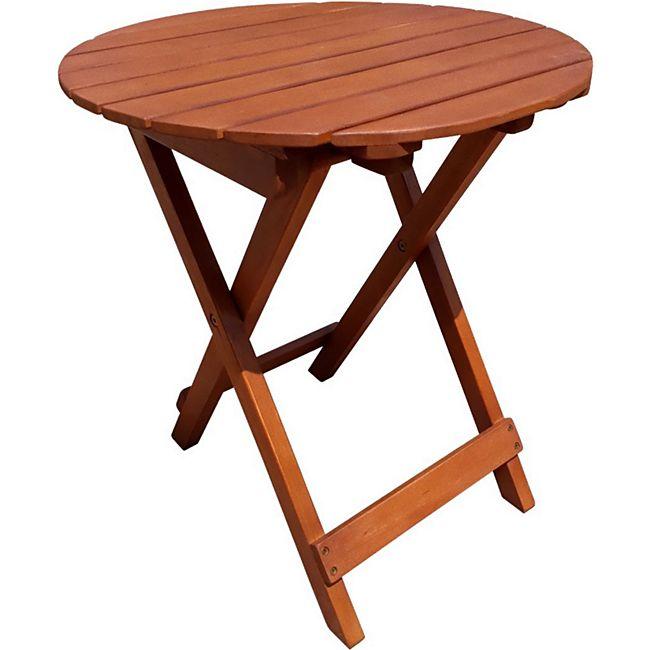 GardenPleasure Gartentisch Balkon Klapptisch Holztisch Beistelltisch Tisch rund - Bild 1