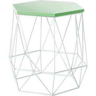 Metall Beistelltisch Couchtisch Tisch Ablage Sofatisch Nachttisch grün weiss - Bild 1