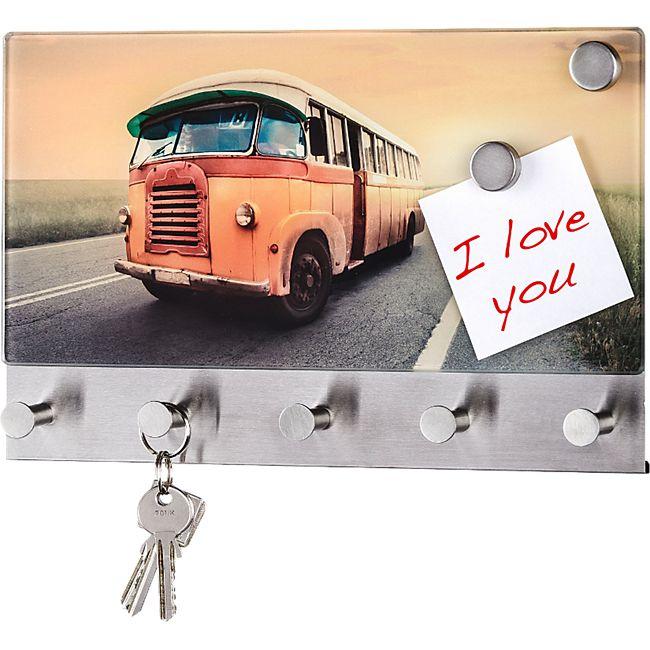 WENKO Glas Magnettafel Vintage Bus Board Glasboard Memoboard Tafel Garderobe - Bild 1