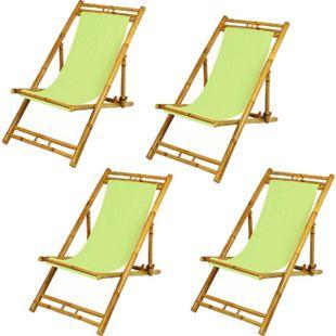 4x Bambus Relax Liegestuhl - Bild 1