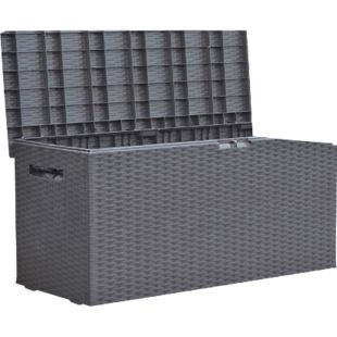 Auflagenbox Rattan Optik 120cm Gartenbox Gartentruhe Auflagen Garten Box Truhe - Bild 1