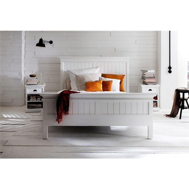 Holzbett HALIFAX weiß 160x200 Bett Doppelbett Ehebett Massivholz Landhaus - Bild 1