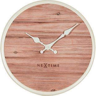 NeXtime Wanduhr PLANK Ø30cm lautlos Holzuhr Wohnzimmer Küche Uhr weiß - Bild 1