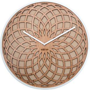 NeXtime Wanduhr SUN SMALL Ø 35cm lautlos rund Holz Wohnzimmer Küche Quarz Uhr - Bild 1