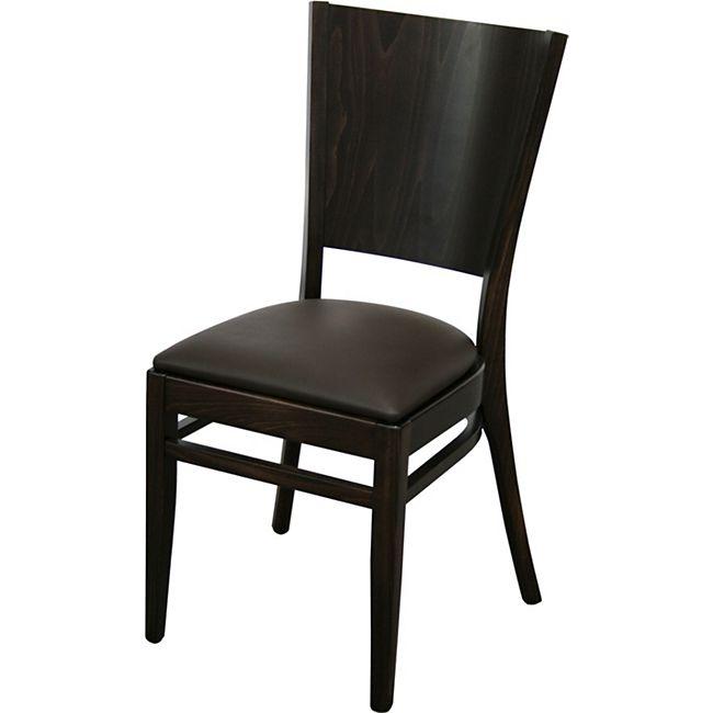 8x KONWAY Indoor Holz Stuhl Set FLAT Stapelstuhl Gastronomie Objektstuhl Stühle - Bild 1