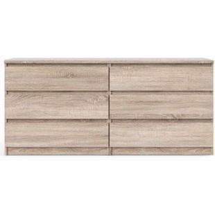 Nada Kommode 6 Schubladen trüffelfarben Sideboard Highboard Schrank Flur Diele - Bild 1