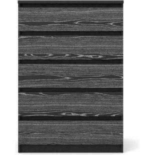 Nada Kommode 5 Schubladen schwarz Esche Sideboard Highboard Schrank Flur Diele - Bild 1
