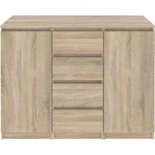 Nada Sideboard 2 Türen 4 Schubladen Eiche Kommode Highboard Schrank Flur Diele - Bild 1