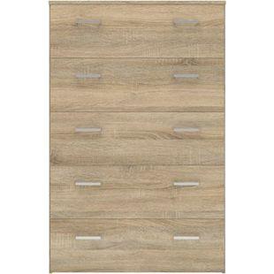 Spell Kommode 5 Schubladen Eiche Struktur Sideboard Highboard Schrank Flur Diele - Bild 1