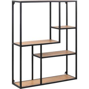 Bücherregal Sea 5 Ablagen Wohnzimmer Regal Regalwand Standregal Holz Metall - Bild 1
