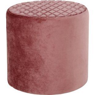Hocker Ejstrup Polsterhocker Sitzhocker Fußhocker Wohnzimmer Velours rosa - Bild 1