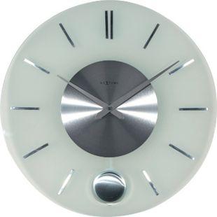 NeXtime Wanduhr STRIPE PENDULUM Ø 40cm Pendeluhr Glas Edelstahl Wohnzimmer Uhr - Bild 1