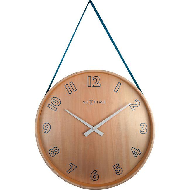 NeXtime große Wanduhr LOOP BIG Ø 40cm lautlos Holz Wohnzimmer Quarz Uhr