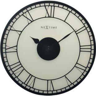NeXtime XL Wanduhr BIG BEN lautlos Milchglas Ø 43cm Bahnhofsuhr Wohnzimmer Uhr - Bild 1