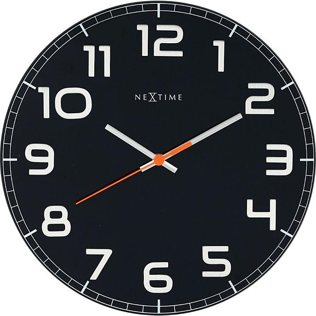 NeXtime Wanduhr CLASSY ROUND Ø 30cm lautlos Glas Wohnzimmer Büro Uhr ...