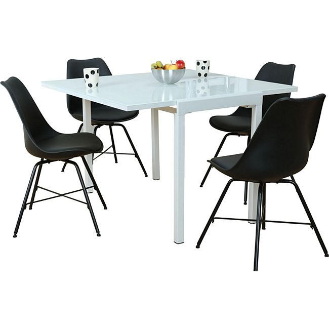 Glas Essgruppe 5tlg Stuhl Sitzgruppe Tisch Esszimmer Stühle Esstisch Holz QCoxBerWd