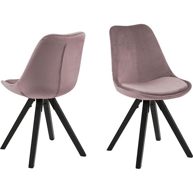 2x Esszimmerstuhl Dry Stuhl Set Stühle Polsterstuhl Küchenstuhl rose schwarz - Bild 1