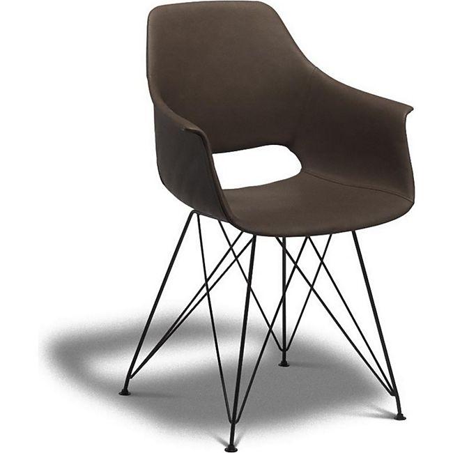 2er Set Esszimmerstuhl Elma Kunstleder Stuhl Stühle Essstuhl Küchenstuhl braun - Bild 1