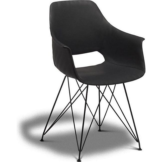 2er Set Esszimmerstuhl Elma Kunstleder Stuhl Stühle Essstuhl Küchenstuhl schwarz - Bild 1