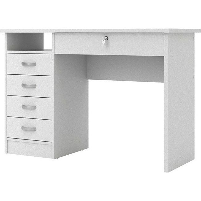 Schreibtisch Fula 5 Schubladen weiss Tisch Bürotisch PC Computertisch Computer - Bild 1