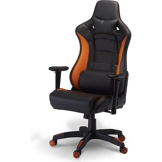 Bürostuhl Garry Gamer Stuhl schwarz + orange Schreibtisch Drehstuhl Chef Sessel - Bild 1