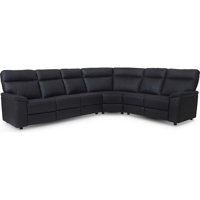 Leder Ecksofa Sofa Haston schwarz Couch Garnitur Wohnlandschaft Ledersofa Lounge - Bild 1