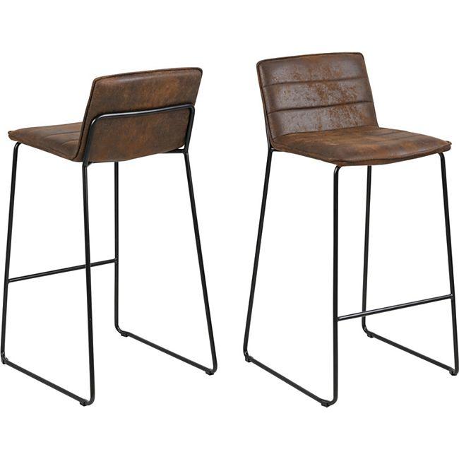 2x Barhocker Kibu braun Metall schwarz Lounge Barstuhl Tresenhocker Küchenhocker - Bild 1