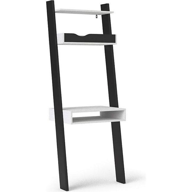 Schreibtisch Napoli 1 Fach 1 Tablett + 1 Ablage weiss schwarz matt Tisch Büro - Bild 1