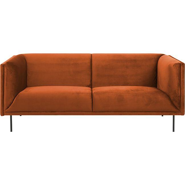 Sofa Nelly 3 Personen orange schwarz Couch Wohnzimmer Polstersofa Garnitur