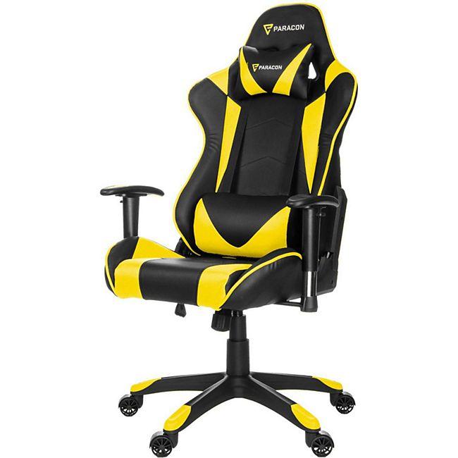 Knight Paracon Gaming Gamer Stuhl Nackenkissen Lendenstütze gelb Büro Sessel - Bild 1