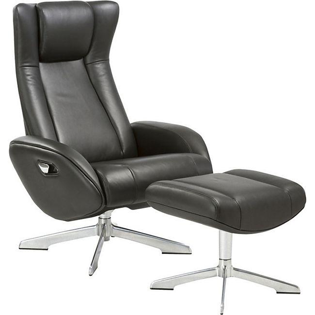 Leder Sessel Rima + Hocker schwarz Relax Fernsehsessel Polstersessel Liegesessel - Bild 1