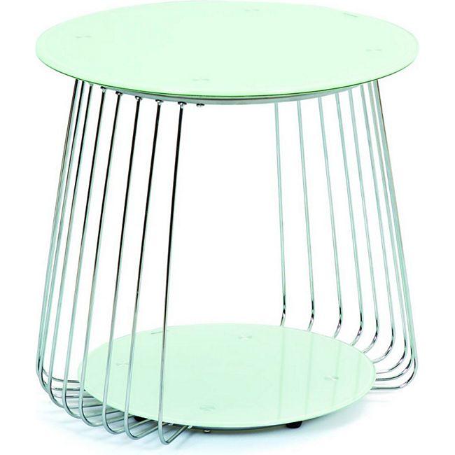 Couchtisch Rivda weiss chrom Sofa Wohnzimmer Tisch Ablage Beistelltisch Glas - Bild 1