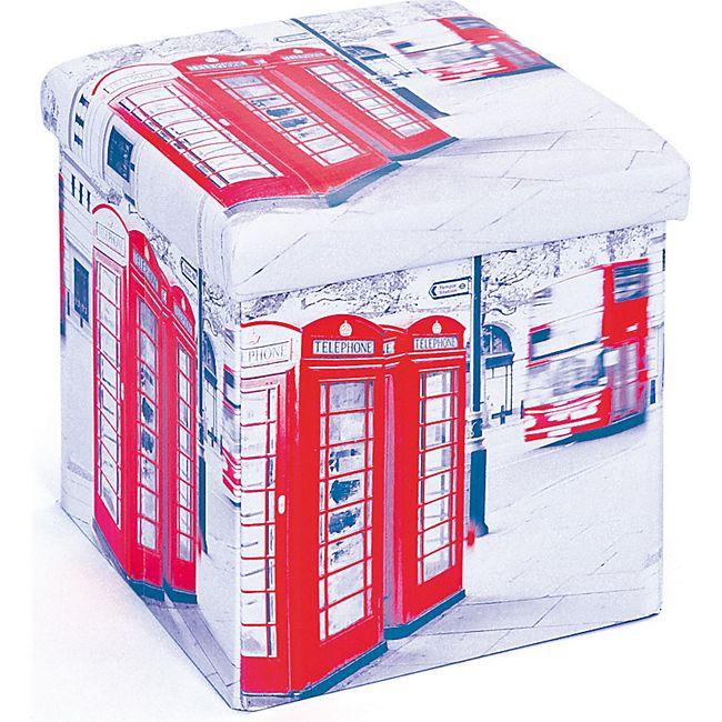 Aufbewahrungsbox Sanne Hocker faltbar Deckel London Faltbox Regalbox Faltkiste - Bild 1