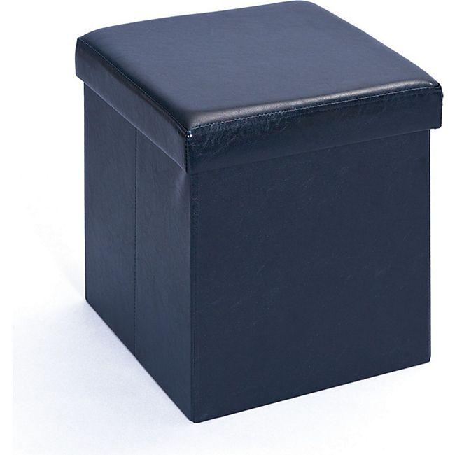 Aufbewahrungsbox Sanne Hocker faltbar mit Deckel schwarz Faltbox Regalbox Box - Bild 1
