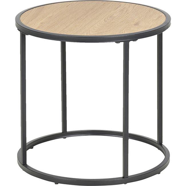 Couchtisch Sea Eiche Metall schwarz Sofa Wohnzimmer Tisch Ablage Beistelltisch - Bild 1