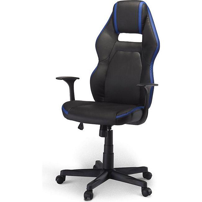 Bürostuhl Spike Gamer Stuhl schwarz + blau Schreibtisch Drehstuhl Chef Sessel - Bild 1