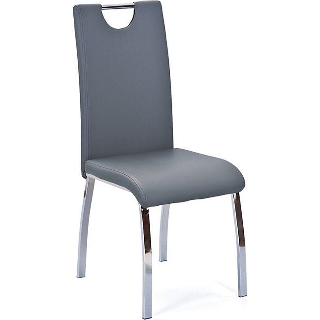 2x Esszimmerstuhl Usax Kunstleder grau chrom Stuhl Set Esszimmer Küchenstuhl - Bild 1